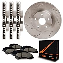 Front + Rear Premium Cross Drilled Rotors and Ceramic Pads Brake Kit KT031723 | Fits: 2006 06 2007 07 Dodge Ram 1500 2WD/4WD Model w/5 Lug Rotor;Non MEGA CAB Model w/8 Lug Rotor&SRT-10 Model