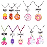 HYZ 4 Sets 10 Best Friends Necklace Pendant Necklaces for Kids Boys Girls Friendship with Milk,Biscuit,Ice Cream,Doughnuts (Style 2)