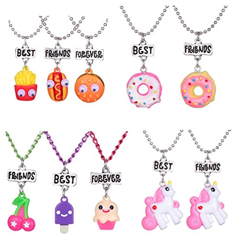 HYZ 4 Sets 10 Best Friends Necklace Pendant Necklaces for Kids Boys Girls Friendship with Milk,Biscuit,Ice Cream,Doughnuts (Style - Best Necklaces Set 3 Friend Of