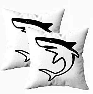 Pamime Pillow Covers 18X18 Inches,Outdoor Pillow Covers Shark Vector Icon Logo Clip Art Dolphin Tail Whale Fin Character Cartoon Decorative Cushion for Home 2 Pack Art Pillowcase