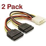 (2 Pack) Molex to Two SATA Lead, LP4 Molex to 2 SATA Internal Power Splitter Cable, Dual Head SATA Power Cable - pjp electronics®