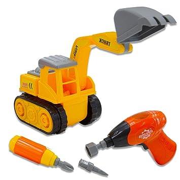 deAO Camion de Construcción para Montar y Desmontar Vehículo Puzle Incluye Excavadora Destornillador y Taladro Electrico