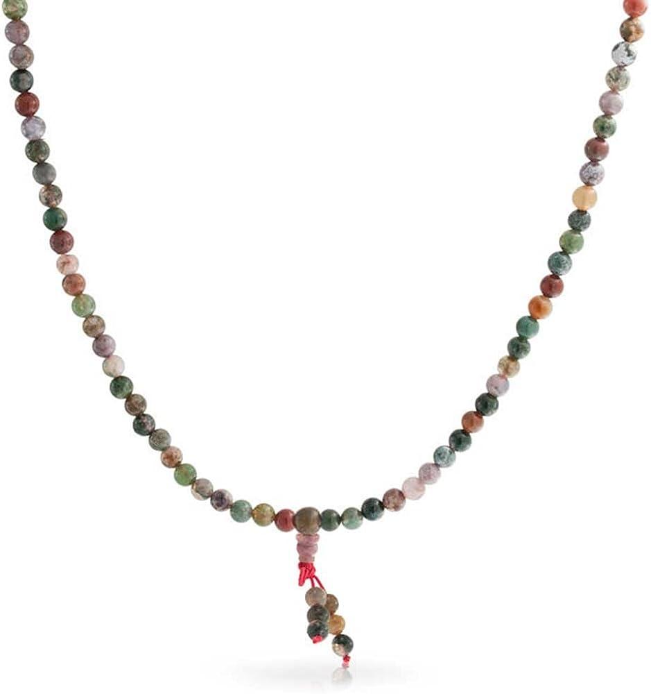 Bling Jewelry Multi Color Marrón Tierra Piedra Jaspe Collar Largo Cordón Oración Mujer Envolver Estiramiento Pulsera Mujer para Hombre
