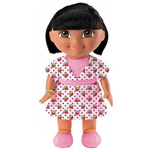 1 Piece Kids 9 Inch Dora The Explorer Strawberry Scented Plush Doll, Cute Pink Dress All Over Strawberries Pattern, Plastic Girls (Dora The Explorer Plastic Toy Box)