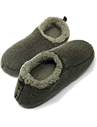 Oooh Yeah Men's Soft Cozy Non-Slip Solid Sherpa Slippers Built in Foam Support Indoor House