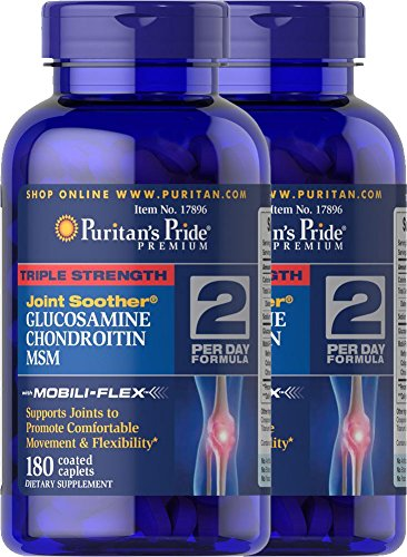 Puritan's Pride 2-pack of Triple Strength Glucosamine, Chondroitin & MSM Joint Soother-180 Caplets (360 Caplets ()