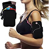 Innens Arm Bag, Universal Sports Armband Fitness Arm Bag with Earphone Hole for iPhone X 8 7 6 6S Plus, Galaxy S9 Plus S9 S8 S7 Edge S6 Edge - Running, Gym, Outdoor, Workout (A-Black)
