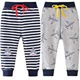 REWANGOING 2 Pack of Little Boys Cartoon Print Drawstring Elastic Sweatpants Sport Jogger 3T