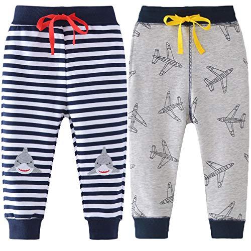 REWANGOING 2 Pack of Little Boys Cartoon Print Drawstring Elastic Sweatpants Sport Jogger 3T by REWANGOING