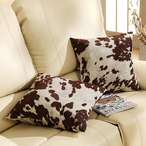DS 2 Piece Brown White Cow Theme Decorative Throw Pillows Set 18-Inch, Beautiful Sporting Cowhide Animal Pattern Indoor Sofa Couch Pillow, Rustic Vintage Style, Vibrant Colors, Soft & Comfy Polyester by DS