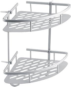 Estante de Almacenamiento para Baño, Cesta Esquinera de 2 Niveles, Organizador de Estante para Colgar en Ducha, Cromado: Amazon.es: Bricolaje y herramientas