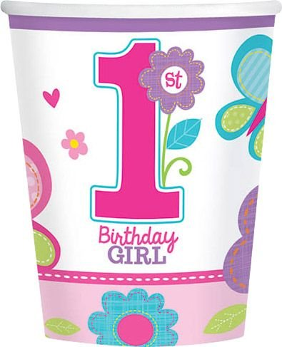 Amscan Sweet Birthday Girl 1st Birthday Purple Cups, 9 oz, Pink/Purple
