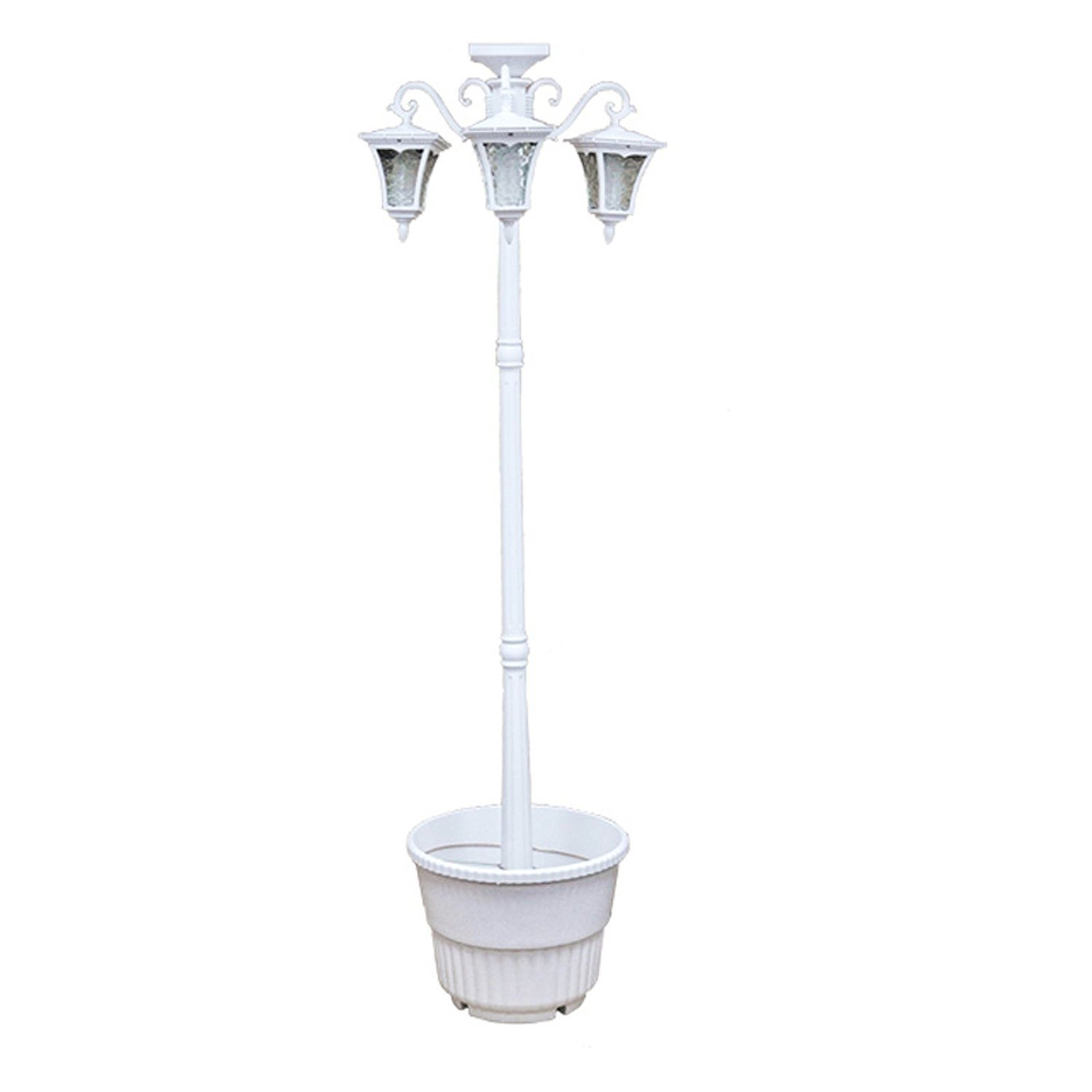 Sun-Ray 312011 Vittoria 3-Head Solar LED Lamp Post and Planter, Dual Amber/White Light Switch, 7ft, White, Batteries Included