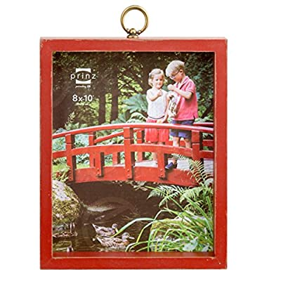 PRINZ Brooks Wood Frame, 8 x 10, Red - Red wood frame with decorative metal accent Hand distressed finish Two-way easel for vertical or horizontal display - picture-frames, bedroom-decor, bedroom - 51CMHunksNL. SS400  -