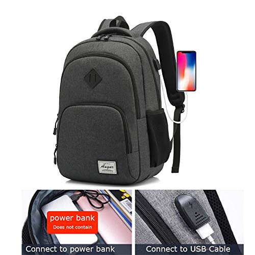 Laptop Backpack AUGUR 15.6 inch Business Travel Backpacks Water Resistant College Back Pack (Black)