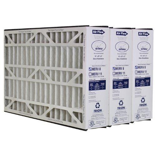 3 X Trion Air Bear 255649-105 - Pleated Furnace Air Filter 16x25x5 MERV 8 by Trion