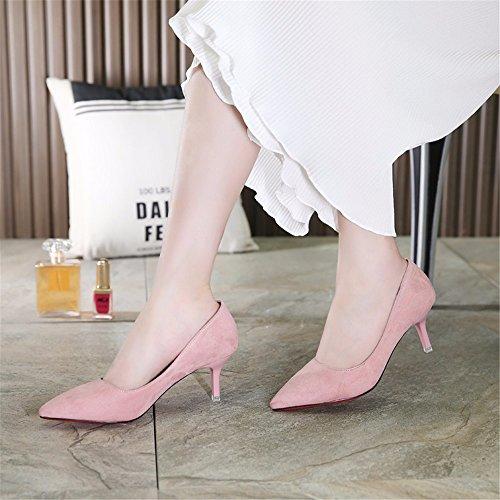 hxvu56546pendant la printemps et l'automne, les talons hauts chaussures de femme SOLO Chaussures Chaussures de satin rose bonbon