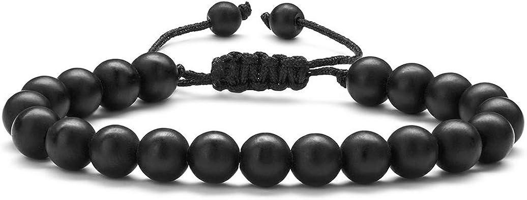 Black Beaded Stretch Lava Stone Rock Bead Bracelet Women Men Yoga Gemstone Gifts