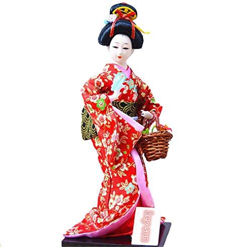 Sunkey New Japanese Geisha Vintage 12 Inches Dolls/Figurine & Mini Basket Set - Handmade Collection (Red)