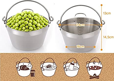 Homemade Jam Pot Stainless Steel Maslin Pan For Jelly /& Soup 9Litre 8QT