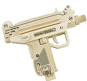 Coeus 3d Wooden Puzzle / DIY Model - Guns- UZI Pistol -Educational Games for Kids / 3d Puzzles for Adults