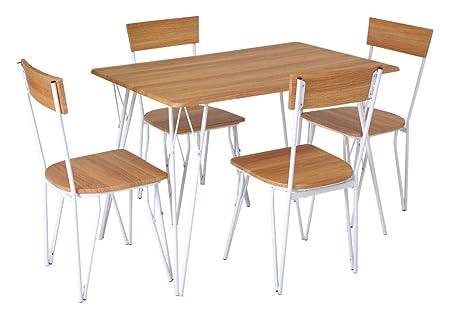 Enrico Coveri Contemporary Set Tavolo con 4 Sedie in Legno e Metallo,  Moderno ed Elegante, Ideale per Cucina, Salone e Sala da Pranzo (Acero)