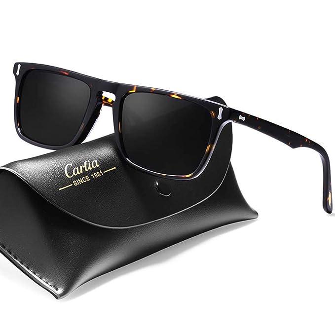 Carfia Rechteckige Polarisierte Herren Sonnenbrille mit UV 400 Schutz, Acetat-Rahmen