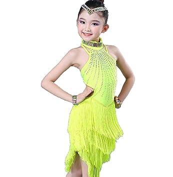 ZYLL Trajes de Baile Latino para niños Franjas Falda Falda ...
