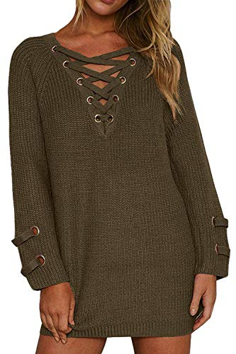 BOBIBI Women#039s Lace Up Front V Neck Long Sleeve Knit Pullover Sweater Mini Dress Top Army Green Large