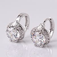 Siam panva 18k white gold filled white topaz charming lady huggie earring for wedding