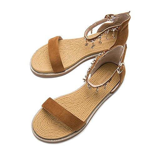 Neue Damenmode Ferse Sandalen Knöchelriemen CJC Braun Toe Schuhe Riemchen Peep Schuhe Block Damen aqartw50x
