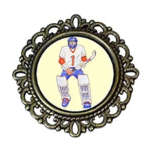 Chicforest Ancient Style Olympics male Hockey player Flower Pin Brooch