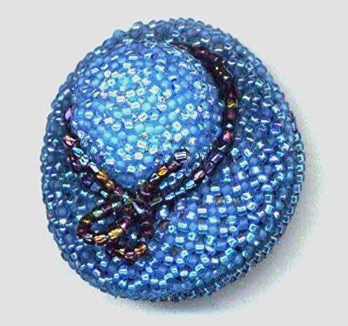 Blue OOAK beadwoven hat brooch -
