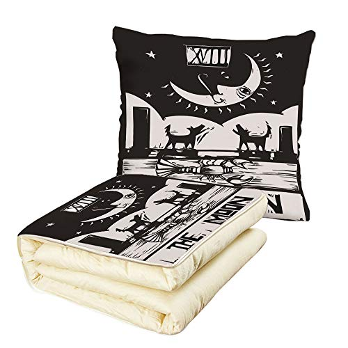iPrint Quilt Dual-Use Pillow Moon Black and White Drawing Style Lobster Wolves Crescent Moon Stars Tarot Card Design Decorative Multifunctional Air-Conditioning Quilt Black ()