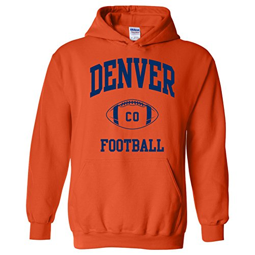Denver Classic Football Arch American Football Team Sports Hoodie - 2X-Large - Orange for $<!--$32.99-->