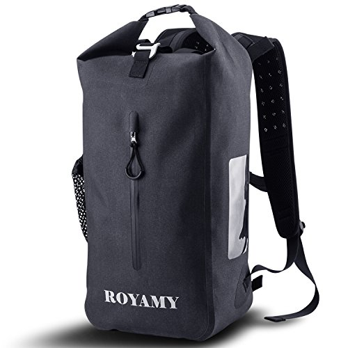 ROYAMY 25L Waterproof Dry Bag Backpack - 600D TPU Fabrics with Removable 15'Laptop Sleeve- Padded and Breathable Back for Travel, Hiking, Camping, Climbing and Outdoor Activities