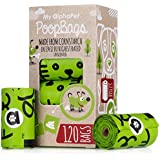 My AlphaPet Compostable Dog Poop Bags - Cornstarch Earth Friendly - Highest ASTM D6400 Rated - 120 Count 8 Unscented Refill Rolls - Large Size 9 x 13 Inches - Leak Proof Doggie Waste Bags