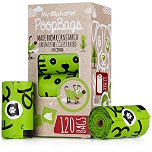 My AlphaPet Compostable Dog Poop Bags – Cornstarch Earth Friendly – Highest ASTM D6400 Rated – 120 Count 8 Unscented Refill Rolls – Large Size 9 x 13 Inches – Leak Proof Doggie Waste Bags