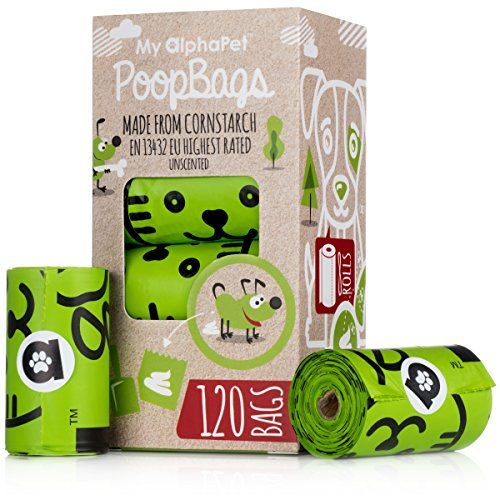My AlphaPet Compostable Dog Poop Bags - Cornstarch Earth Friendly - Highest ASTM D6400 Rated - 120 Count 8 Unscented Refill Rolls - Large Size 9 x 13 Inches - Leak Proof Doggie Waste Bags by My AlphaPet