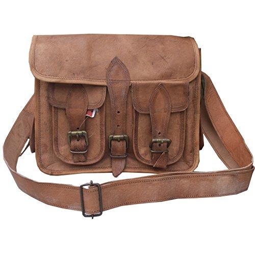 Handcraft's ''Garrett'' Genuine Leather Vintage Brown DSLR/SLR Camera Messenger Bag 9x11 Inch by Handcraft