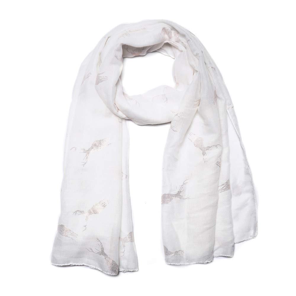 Women Bronzing Scarf Christmas Elk Pattern Fashion Comfortable Scarves