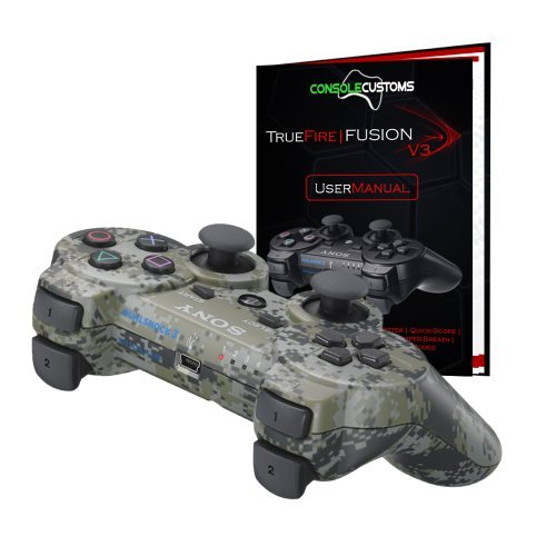 PS3 Urban Camo TrueFire-Fusion Rapid Fire modded Controller with DROP SHOT, QUICKSCOPE, JITTER, AUTO AIM; COD MW3, Black Ops by Console Customs (Auto Aim Ps3 Controller compare prices)