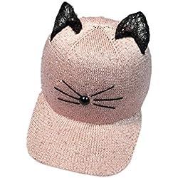 Voberry Women Snapback Cat Ear Sequin Baseball Cap Hip Hop Sun Hat (Pink)