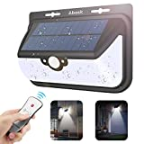New Version Solar Motion Lights, Abask 68LED 800LM Ultra-bright Wireless Remote Control 3 Modes with Motion Sensor Solar Wall light Outdoor Garden Lights Courtyards Stairs Exterior Lighting and Safety