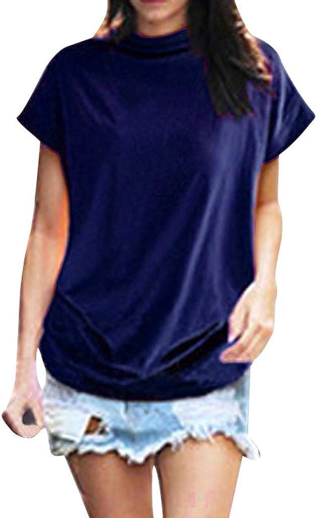 Women Shirts Turtleneck Short Sleeve Cotton Blouse T Shirt Casual Loose Tunic Tops