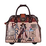 Nicole Lee Women's Stylish Pink Paris Print Bag, Rolling Wheels, Laptop Compartment Travel Tote, Lonely in Paris, One Size