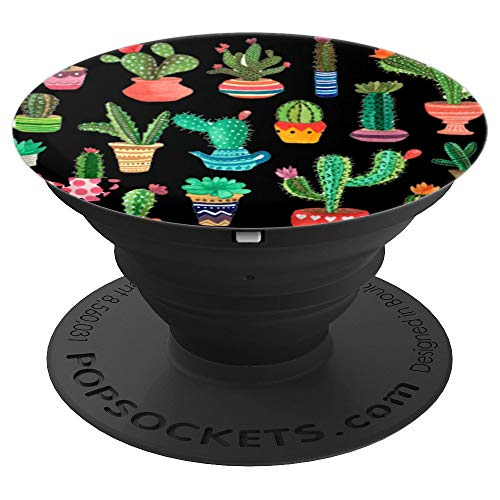 Cactus Pot Pop Socket Black - PopSockets Grip and Stand for Phones and Tablets]()