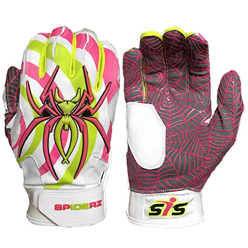 Spiderz Freak-a-Delic (White) HYBRID Baseball/Softball Batting Gloves w/Spider Web Grip and Protective Top Hand in Adult &Youth Sizes - Professional (PRO) Quality (Adult X-Large) by Spiderz