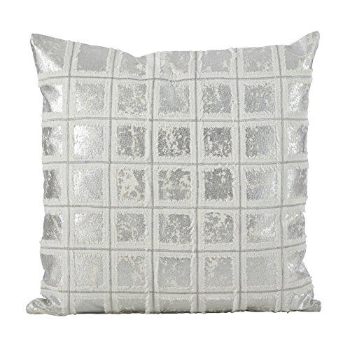 (SARO LIFESTYLE Metallic Grid Fringe Design Cotton Down Filled Throw Pillow 18