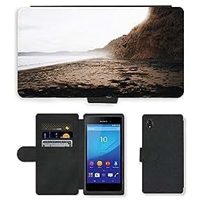 Just Phone Cases PU LEATHER case coque housse smartphone Flip bag Cover protection // M00421778 Costa de playa de la Costa del mar del // Sony Xperia M4 Aqua